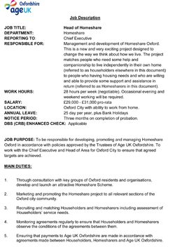 Head of Homeshare job specification